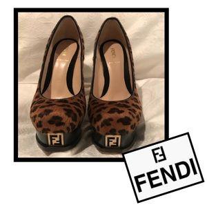 Authentic FENDI Logo pony hair heels